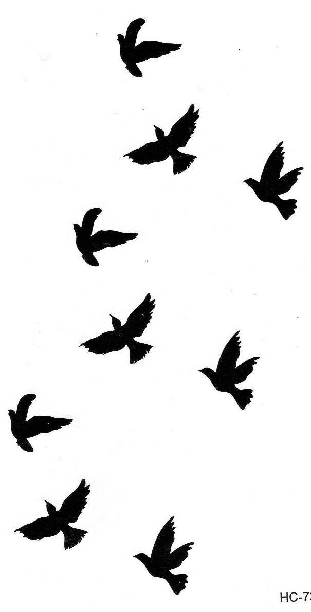 Vogel Vögel Flug Klein Temporary Temporäre Einmal Tattoo 5,5x10,5cm HC73