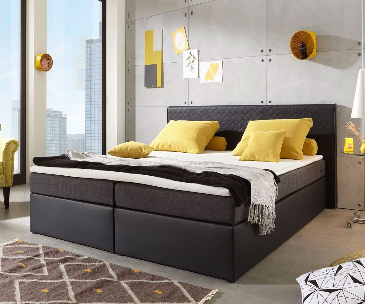 boxspringbett pir us 180x200 schwarz kopfteil abgesteppt boxspringbetten mehr z rtlichkeit. Black Bedroom Furniture Sets. Home Design Ideas
