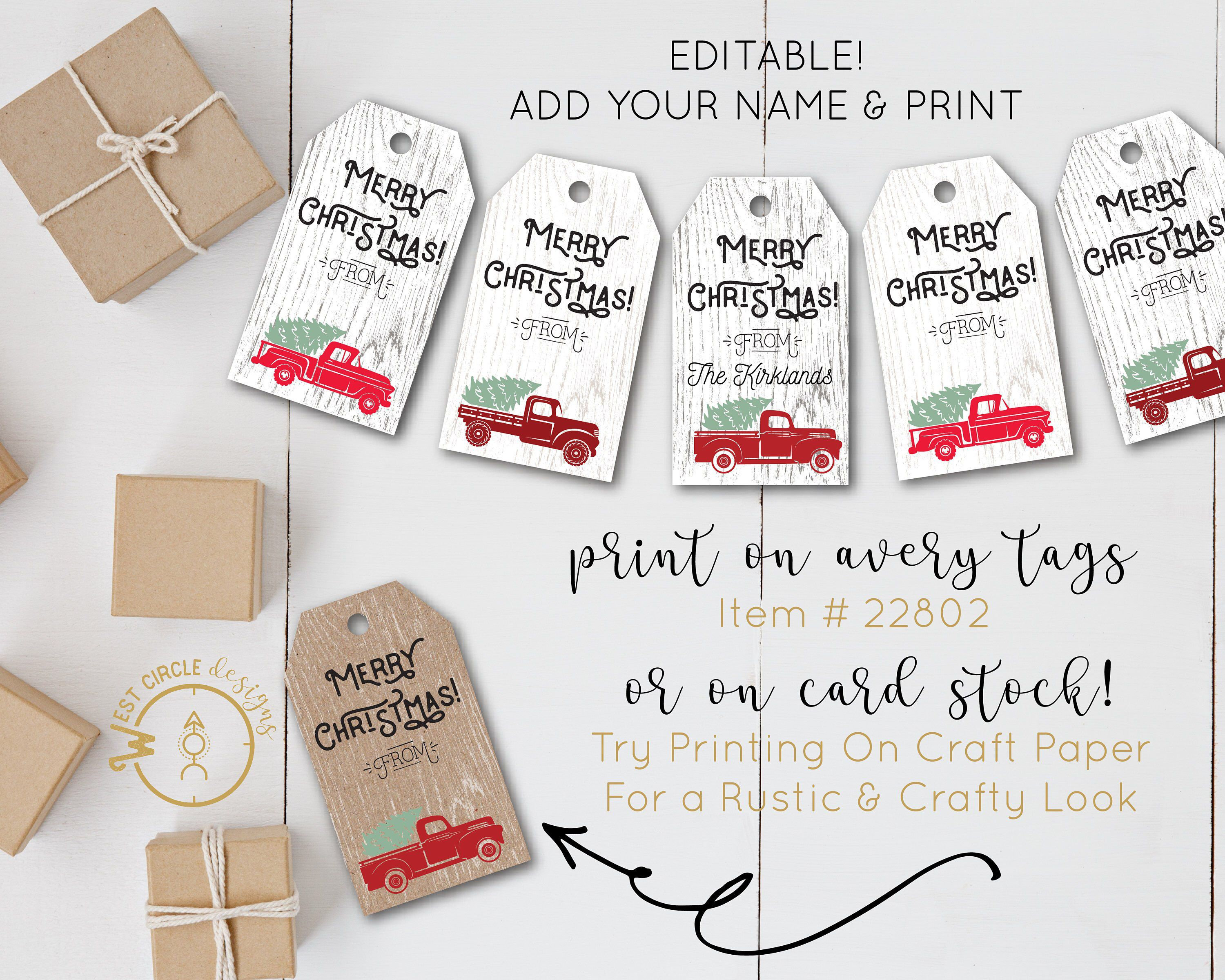 Cute Christmas Gift Tags/ Tree in Truck Personalized Printable Gift ...