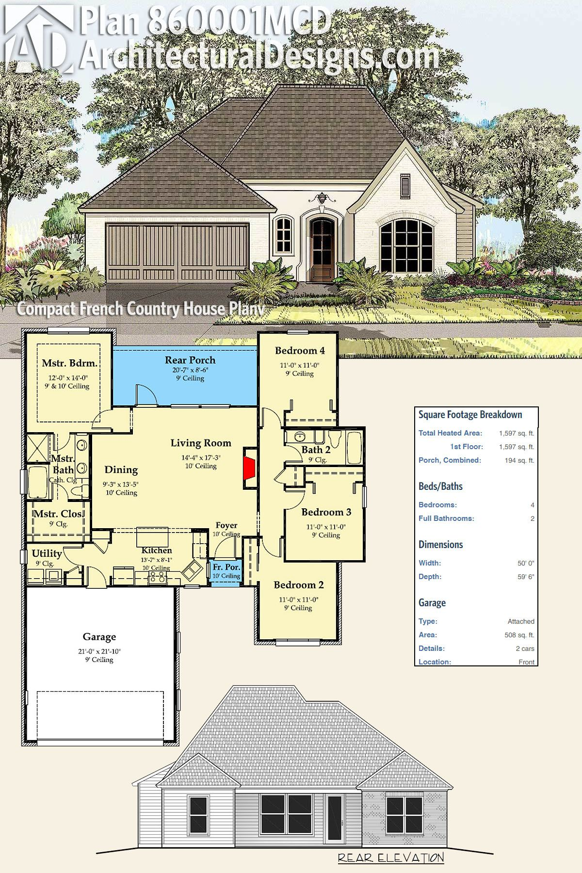 Plan 860001mcd Compact French Country House Plan In 2019 Home