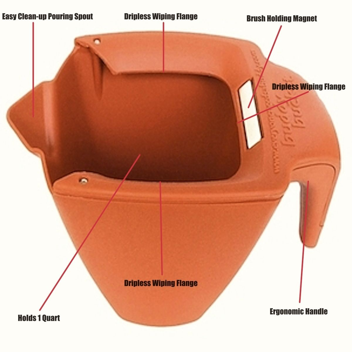 buddy bucket features include dripless wiping flange paint brush