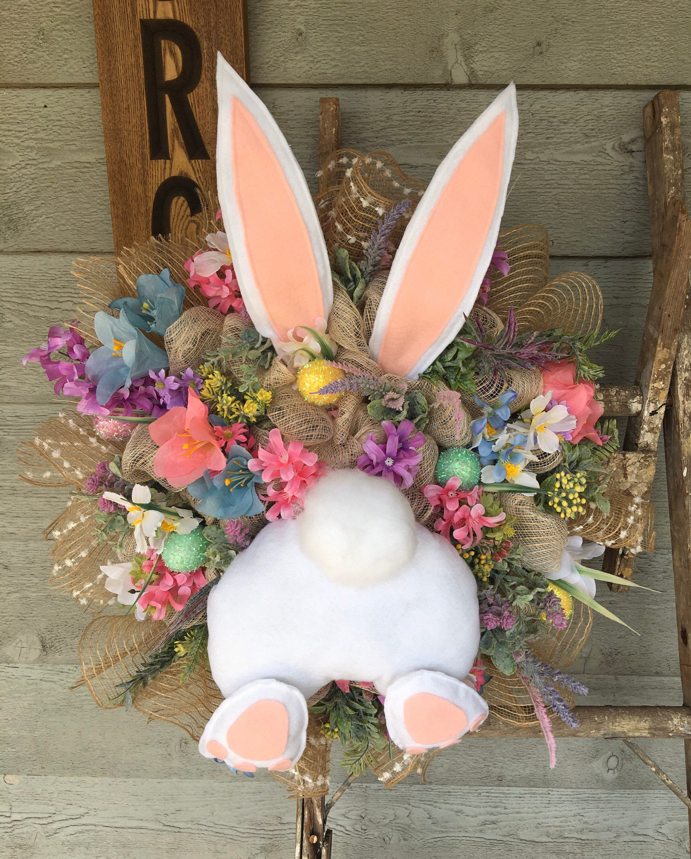 Photo of Easter Wreath, Wreath for Front Door, Bunny Wreath, Easter Bunny, Spring Wreath, Spring Wreath for Front Door