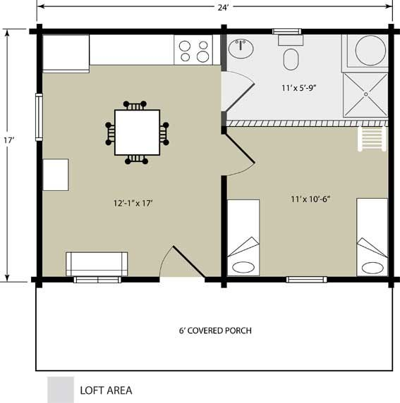 Log Cabin Package 17 X 24 Bear Creek Log Cabin Package Cabin Floor Plans Small House Floor Plans Loft Floor Plans