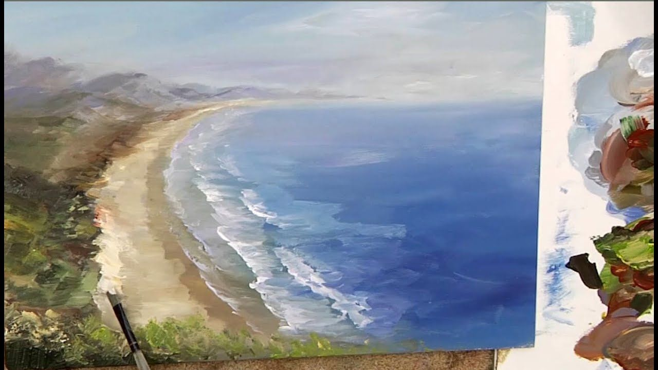 Distant Beach Youtube Beach Learn To Paint Landscape