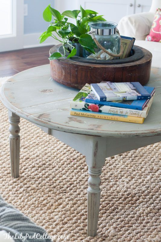 distressed round coffee table by the lilypad cottage - Distressed Round Coffee Tables