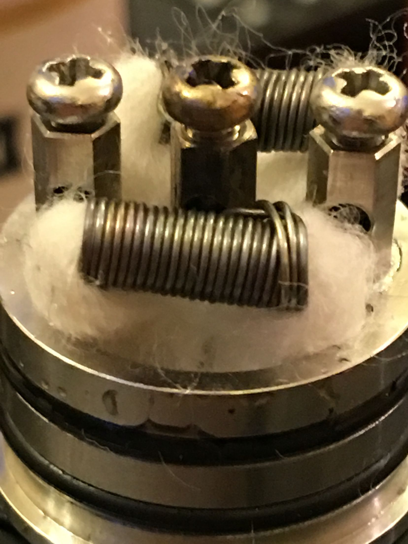Dual Triple parallel coil 0.18 ohms, not the tidiest but one hell ...