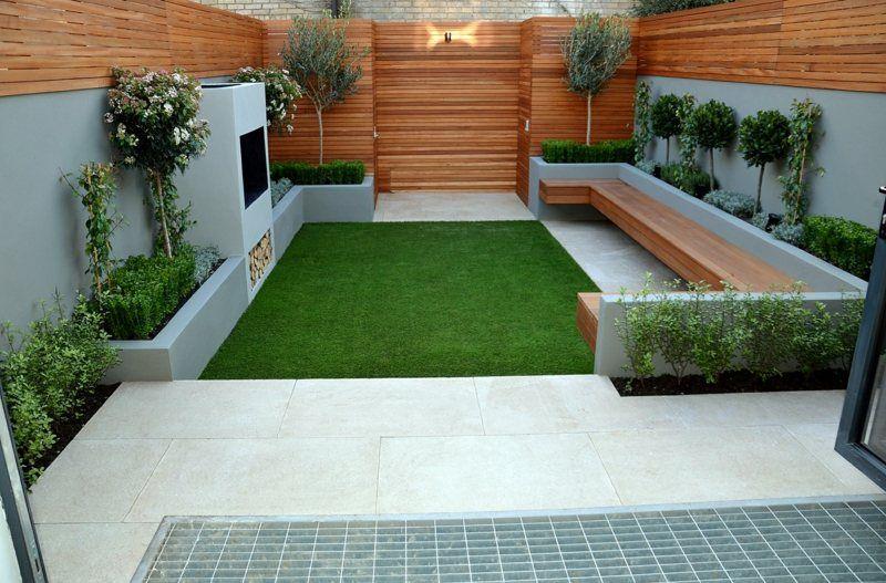 moderner garten mit sitzbank und holzverkleidungen | outdoors, Garten seite