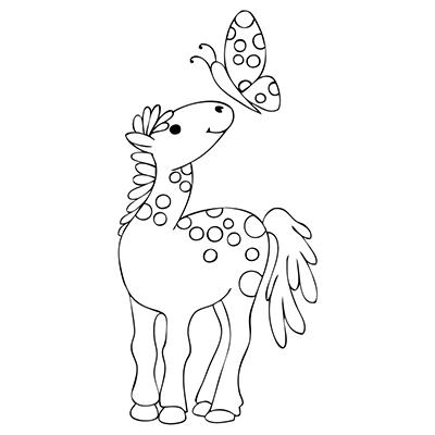 "marabu window color malvorlage ""pony mit schmetterling 1"" marabu windowcolor malvorlage"
