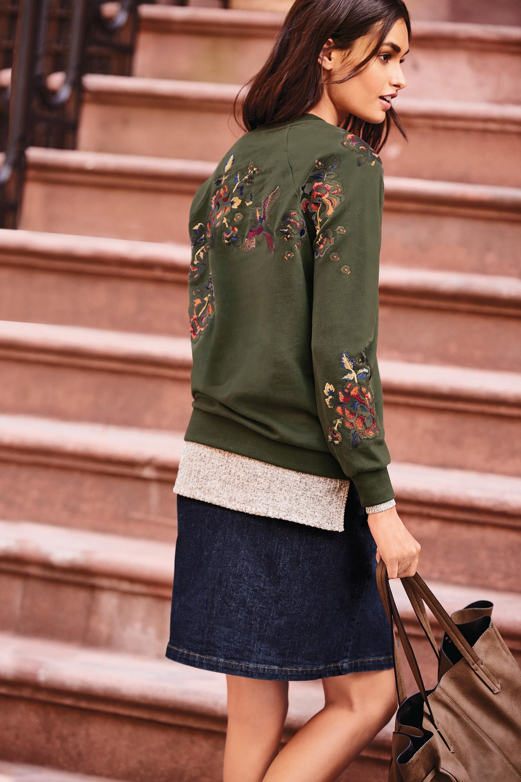 Buy Green Embroidered Sweat Top from the Next UK online shop