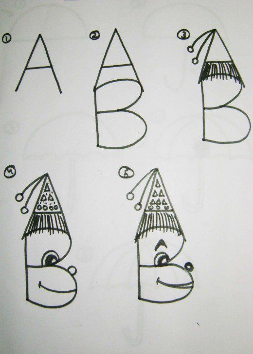 Here you will find some very easy drawing instructions using only alphabet letters to make it