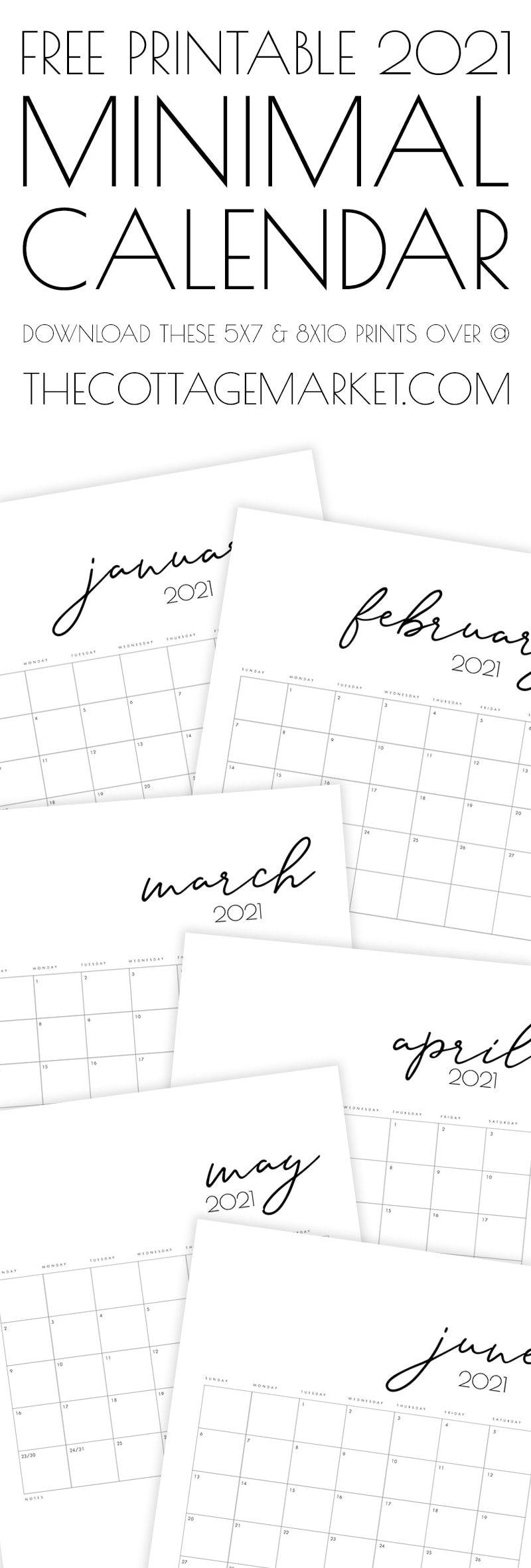 Free Printable 2021 Minimal Calendar - The Cottage Market ...