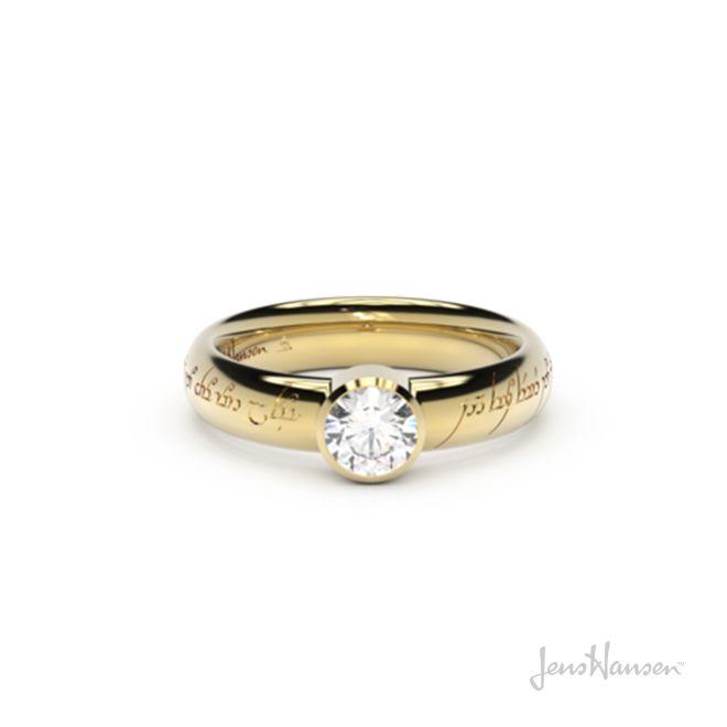 Modern Elvish Engagement Ring Yellow Gold Engagement Rings