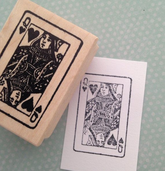 Queen of Hearts Playing Card Wood Mounted Rubber by 100ProofPress