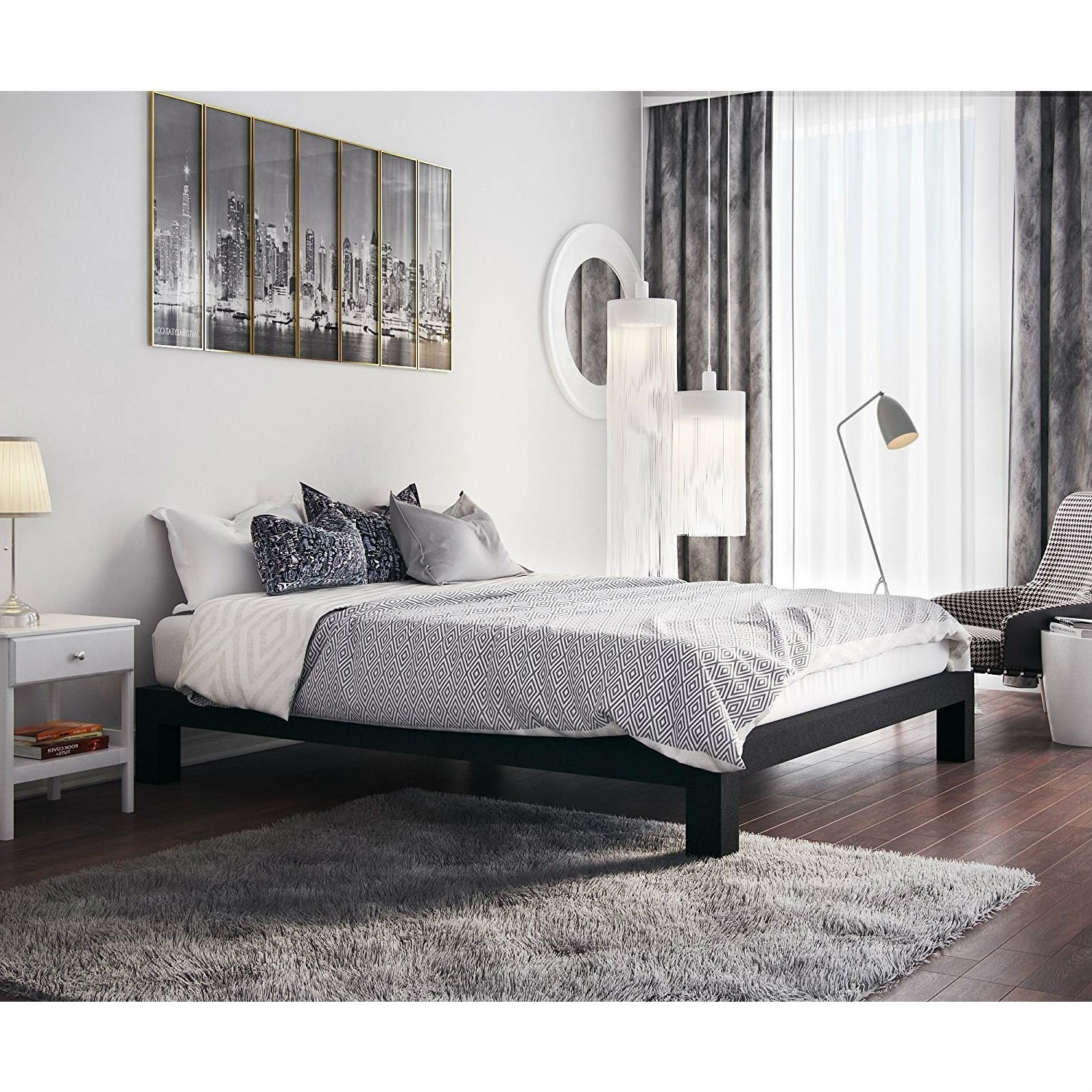King Black Metal Platform Bed Frame With Wide Wood Slats Metal
