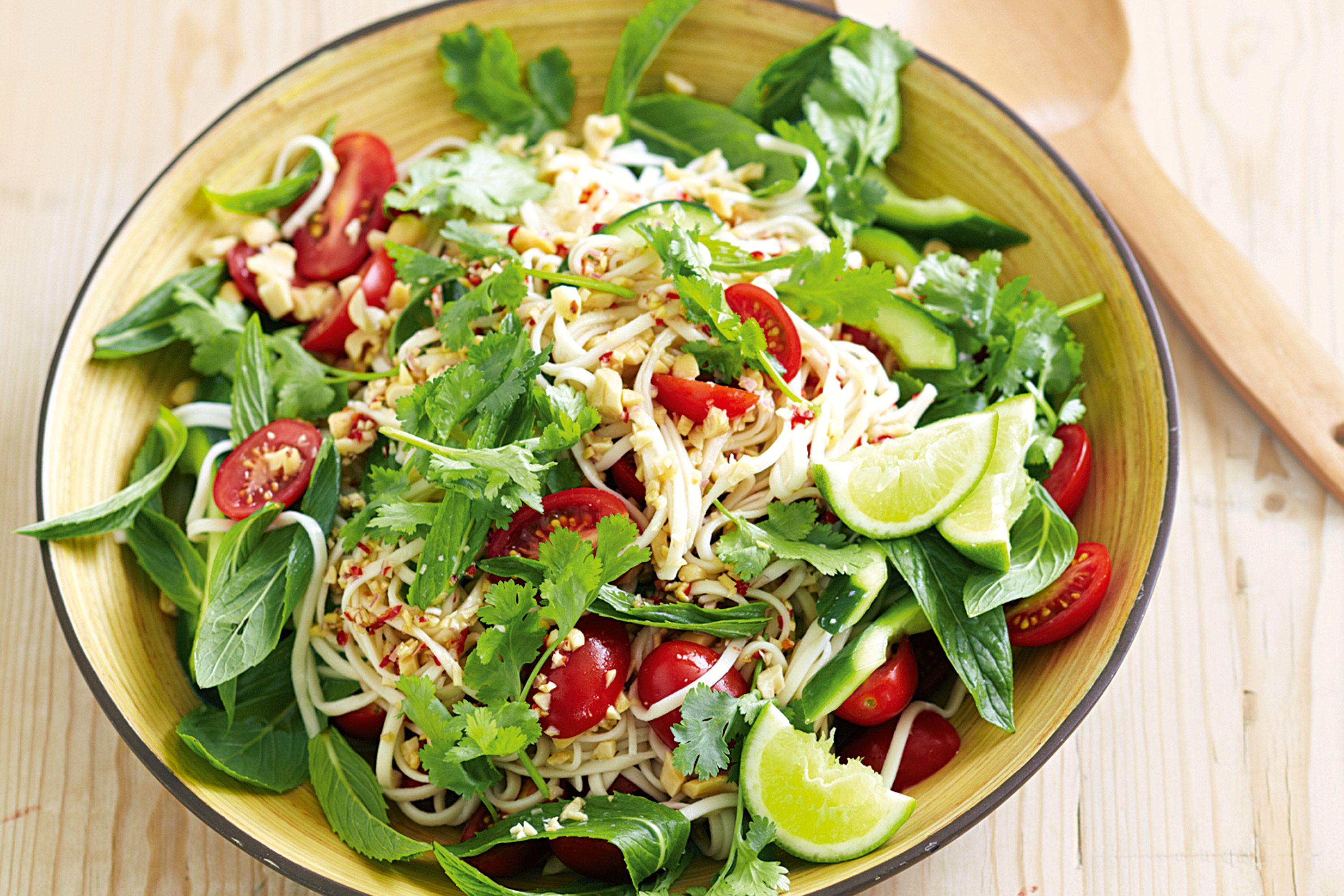 Take the fixings to work and make this zesty Thai salad for lunch. It's a no-cook no-brainer.  http://www.taste.com.au/recipes/28763/thai+noodle+salad?ref=collections,lunch-recipes