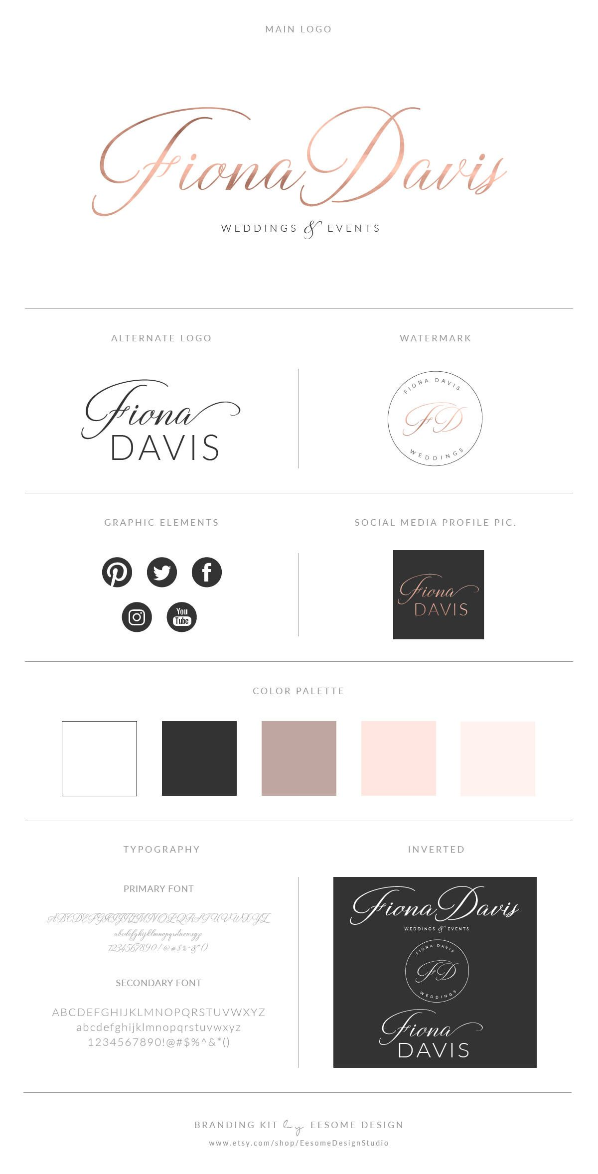 Rose Gold Logo Design Branding Package Photography Logo Watermark