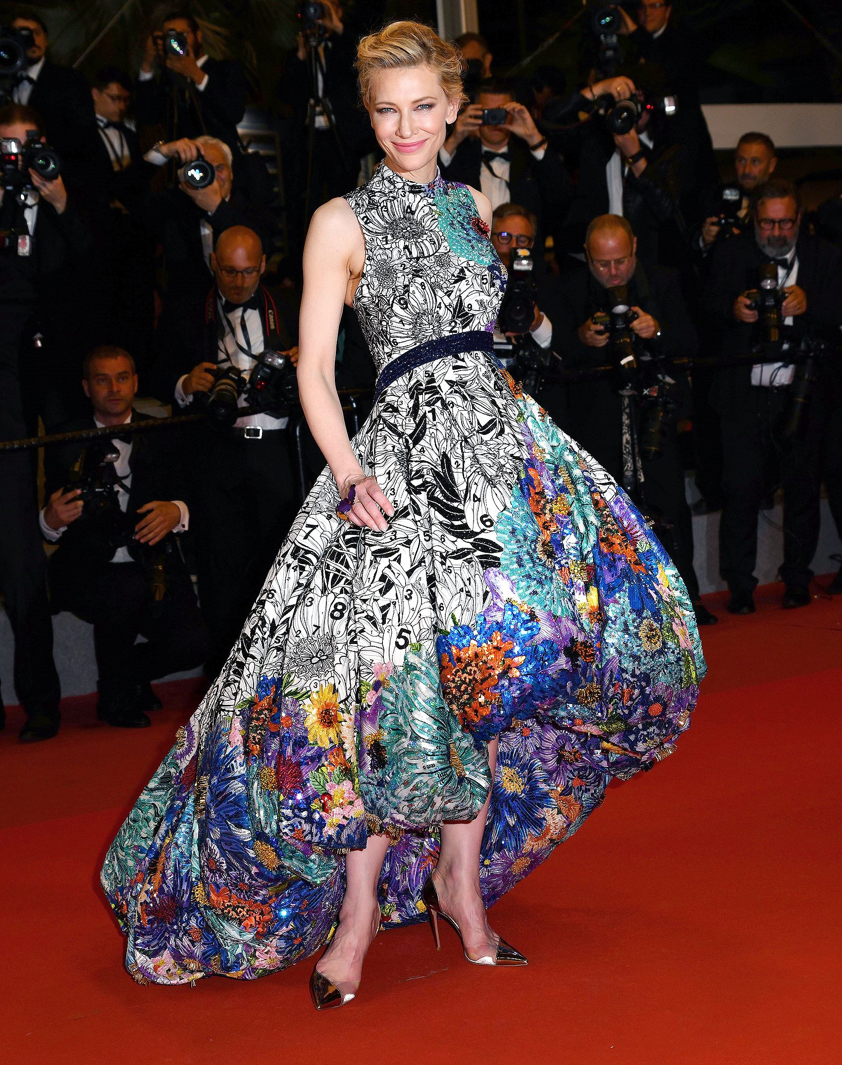 1f190e312cb99 The jury member wore an sequin, bead and Swarovski crystal-embroidered Mary  Katrantzou high-low gown and metallic pumps to the premiere of Cold War.