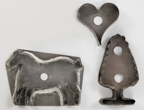 Three tinned sheet iron cookie cutters, 19th c.