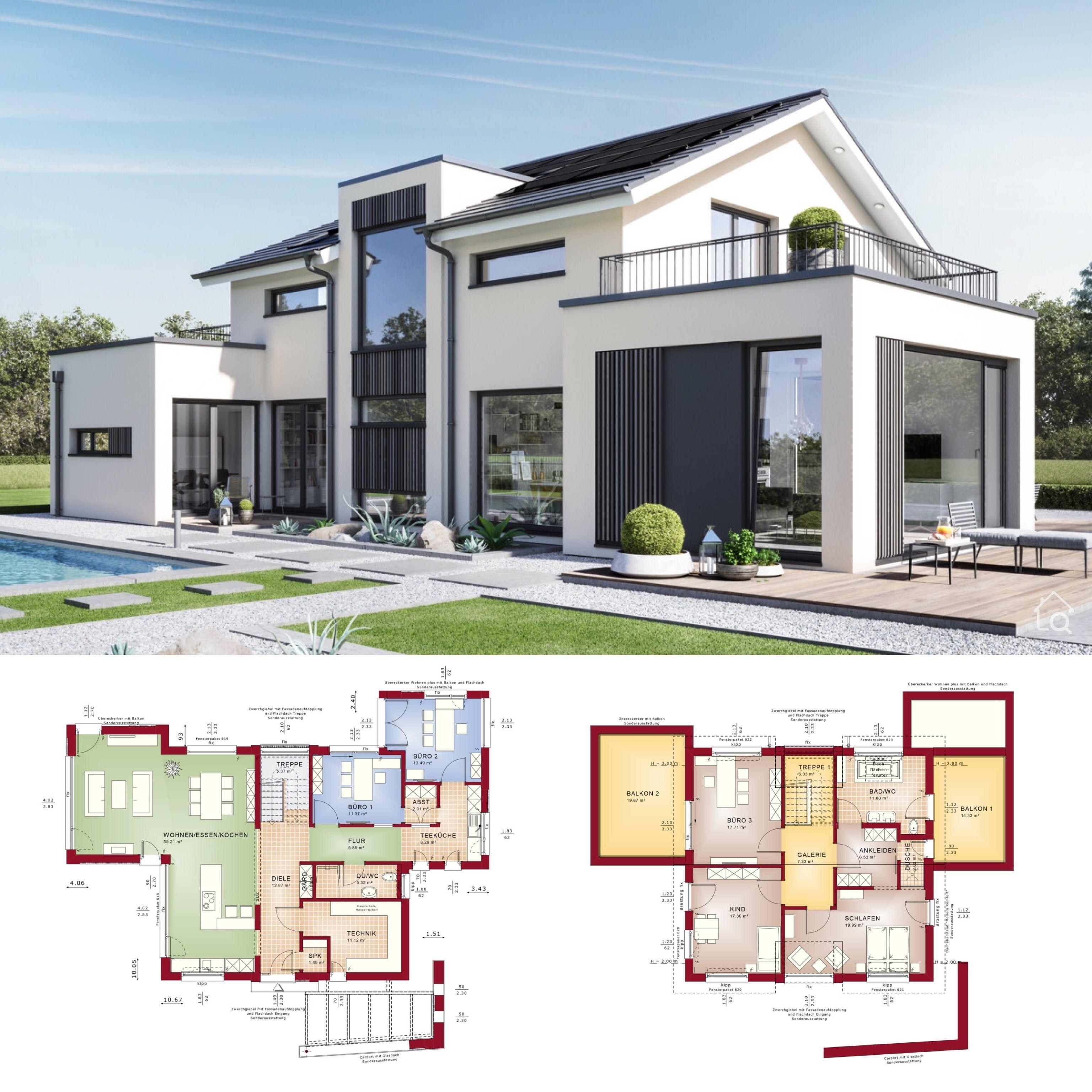 Fertighaus Mit Modernes Satteldach Haus Design Aussen Modern Mit Satteldach House Architecture Design Architecture House Residential Architecture Facades