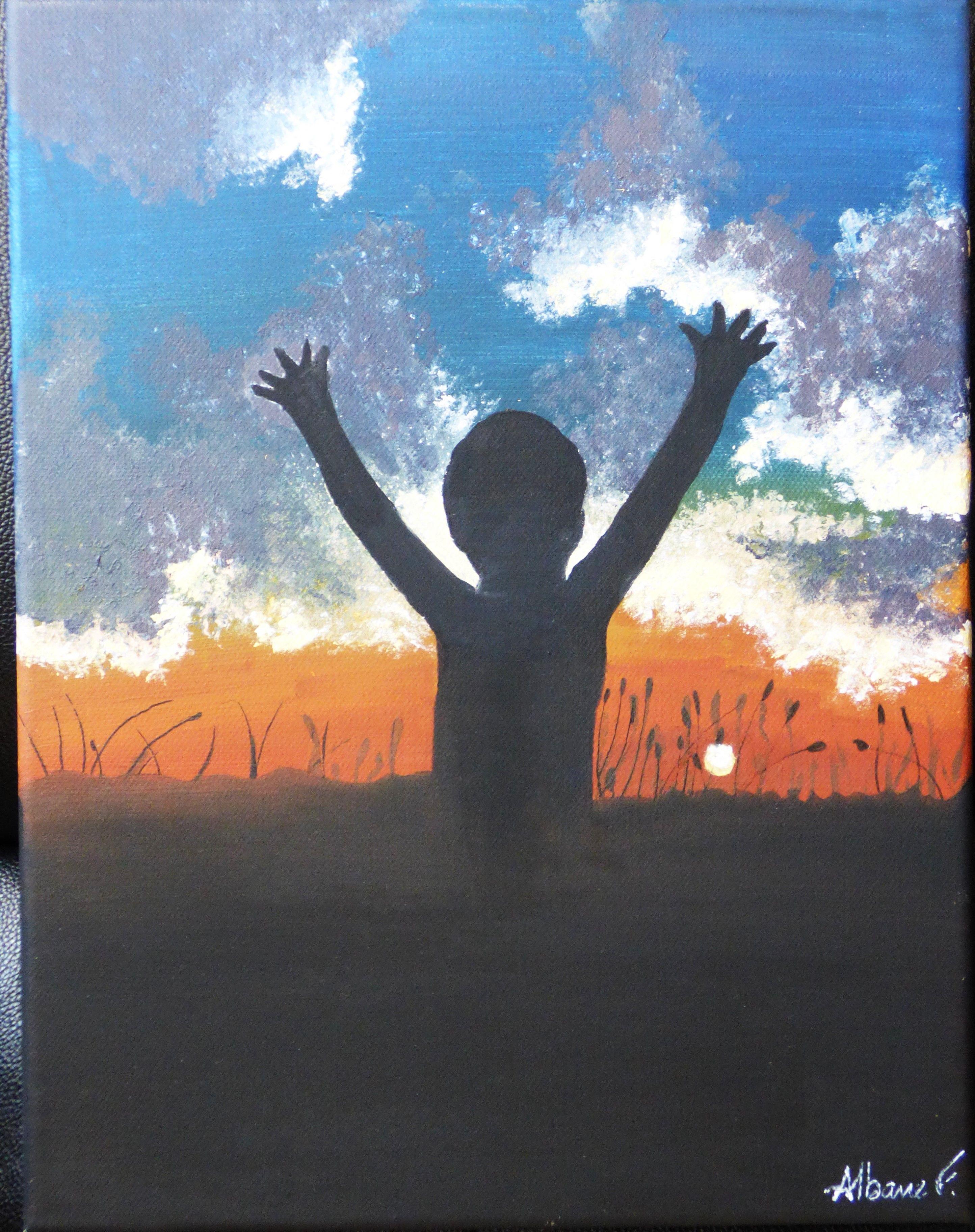 Silhouette 2/4. Acrylique sur toile. 27x35 cm. 40 euros. disponible