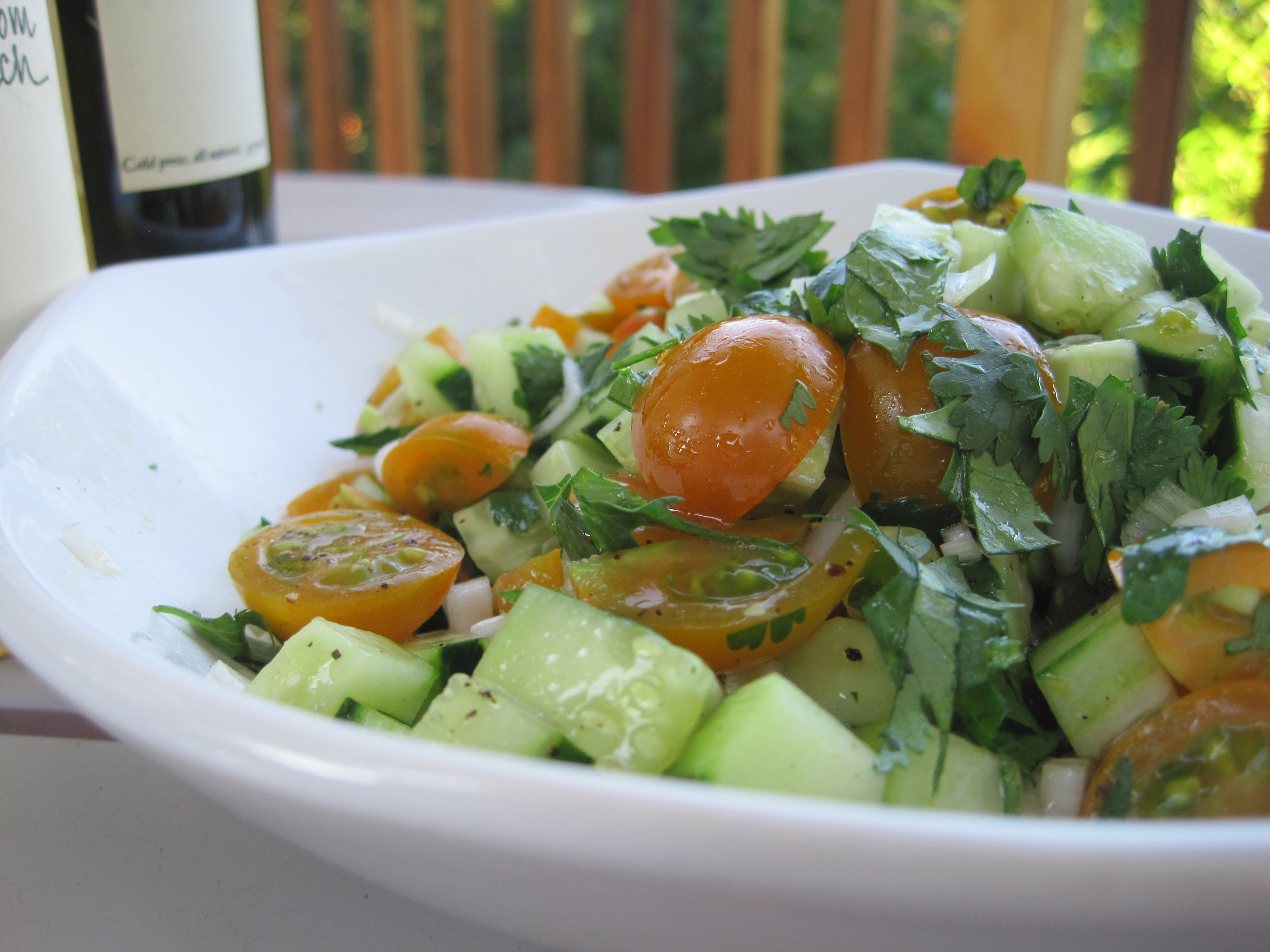 Cherry Tomato, Cucumber and Spring Onion Salad... and a trip to San Juan Island Farmer's Market!