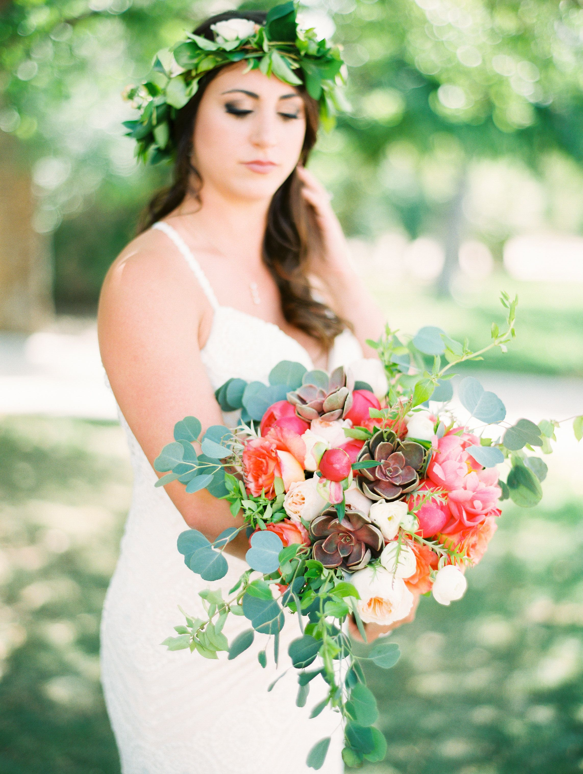 Large bouquet of Juliet garden roses, coral charm peonies