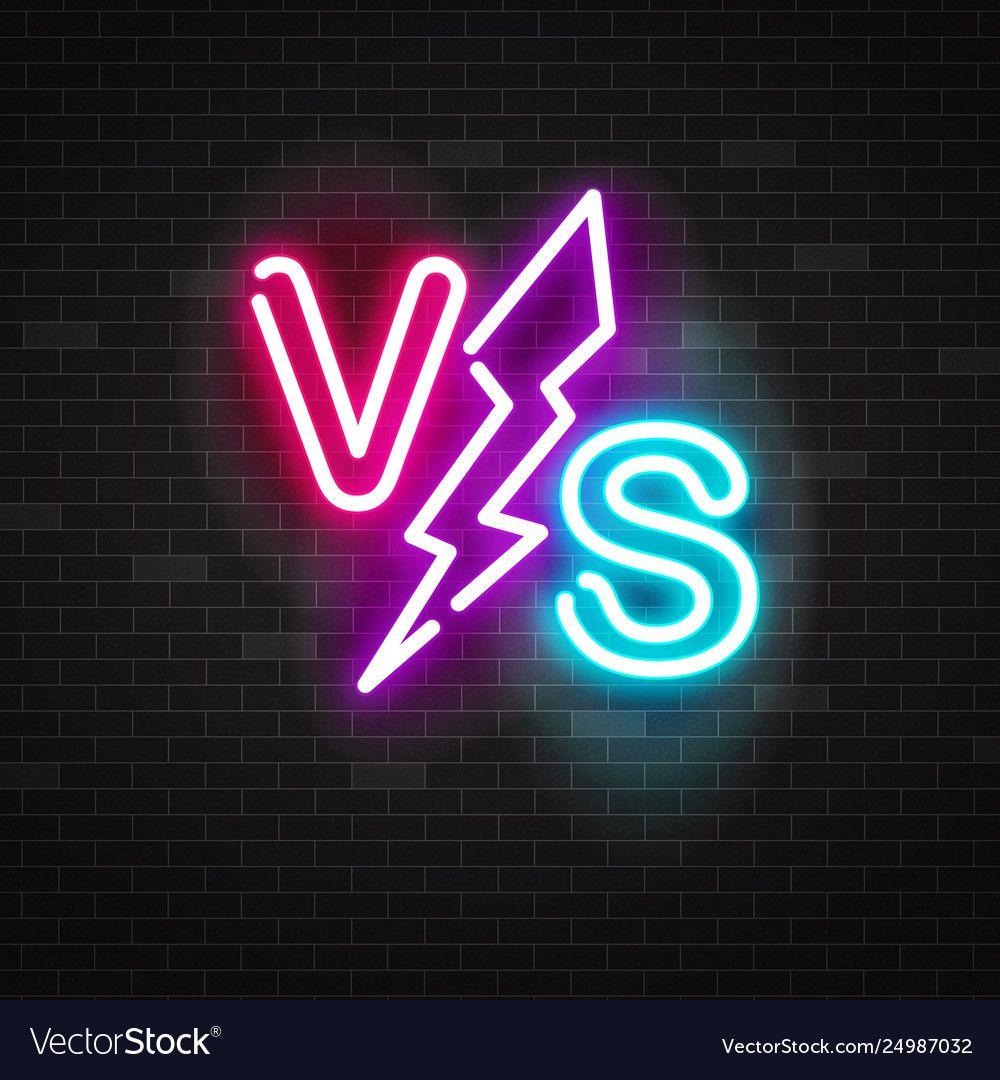 Blue and pink glowing neon symbol versus battle Vector