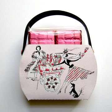 """Fashion & Flowers"" Candy Box Purse filled with rose mini bar chocolates"