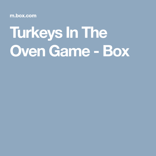 Turkeys In The Oven Game - Box