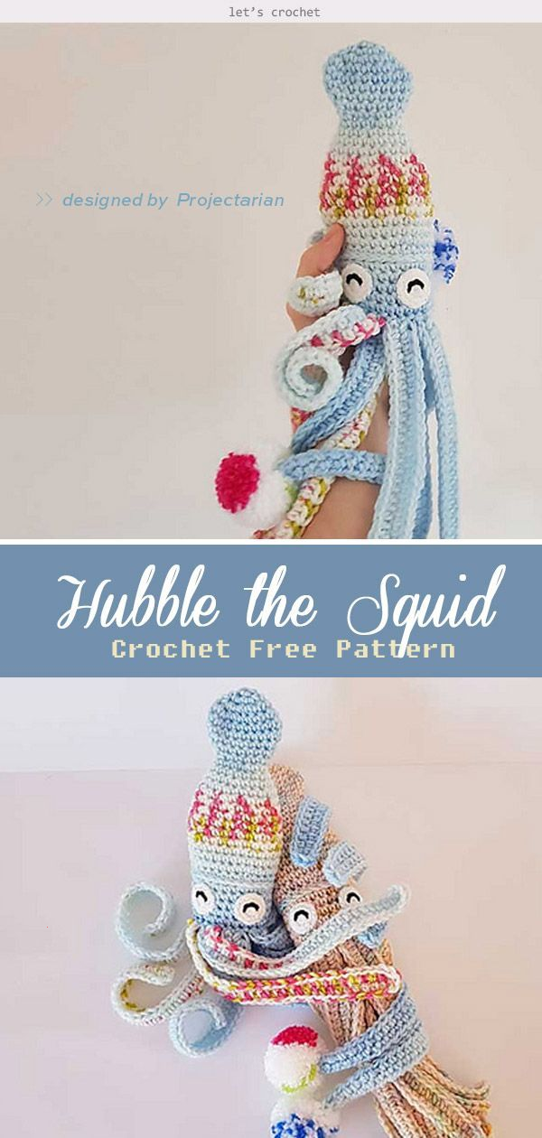 Photo of Hubble the Squid Crochet Free Pattern