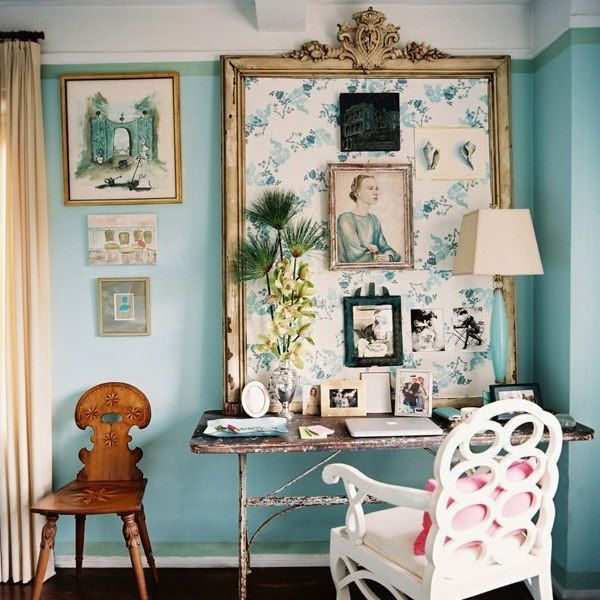 Expert Advice Home Office Design Tips From Interior Designers: Fabric Pin Board In Ornate Frame