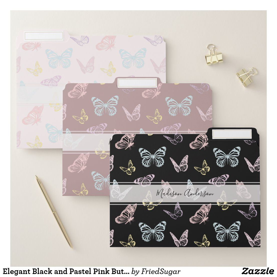 Elegant Black And Pastel Pink Butterfly Pattern File