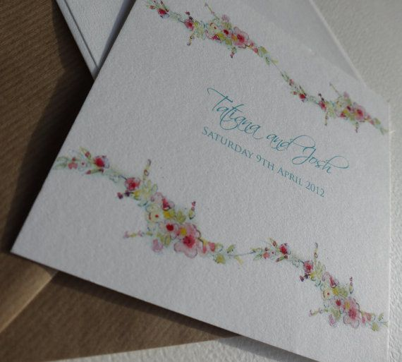 Wedding Invitation x 10 Floral branch by Papermonkeys on Etsy, £30.00
