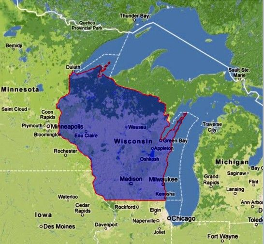 BSB Geography online map of US state Wisconsin and Chicago