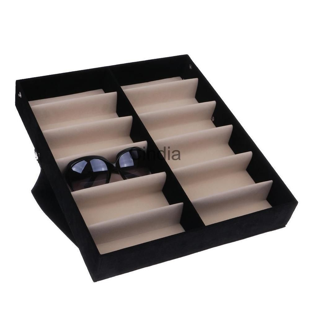 8a16f479ed11b 12 Grid Eyeglass Sunglasses Glasses Storage Case Display Stand Box Holder