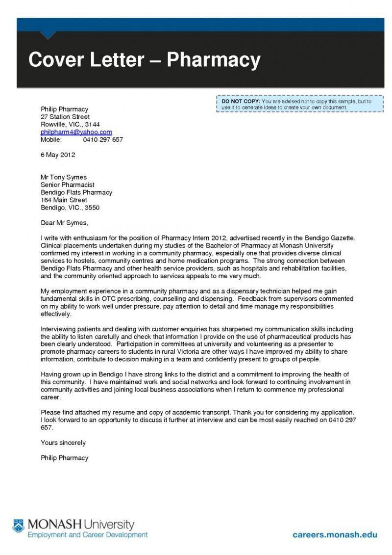 Cover Letter For Pharmacy Technician Student Resume