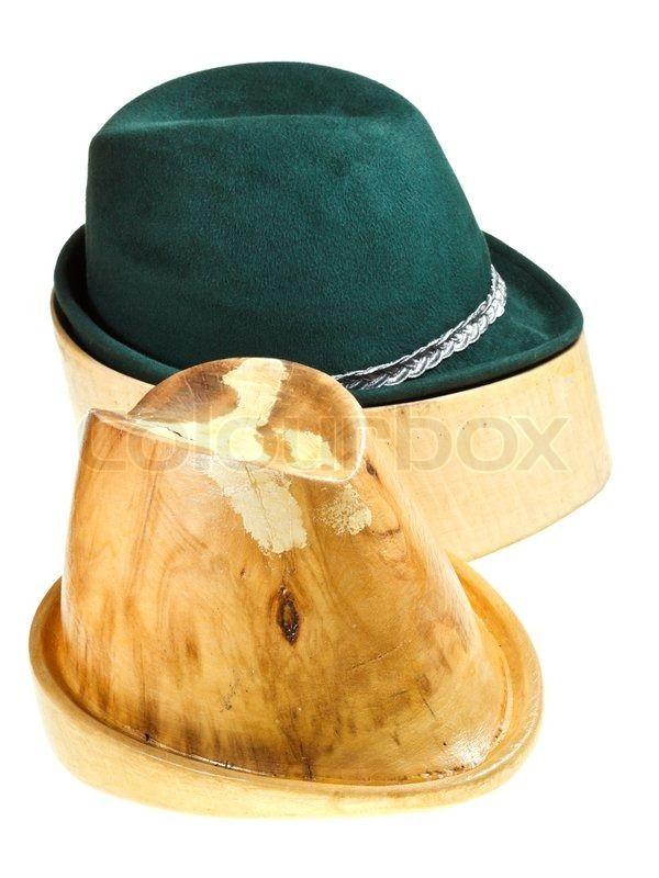 Stock Image Of Bavarian Felt Hat On Linden Wooden Hat Block And Additional Hat Hat Blocks Hats Felt Hat