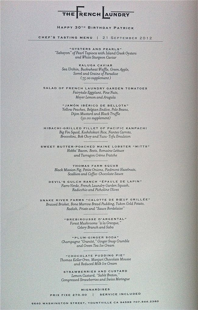 The French Laundry Yountville Dollybakes The French Laundry Tasting Menu Wine Pairing Menu
