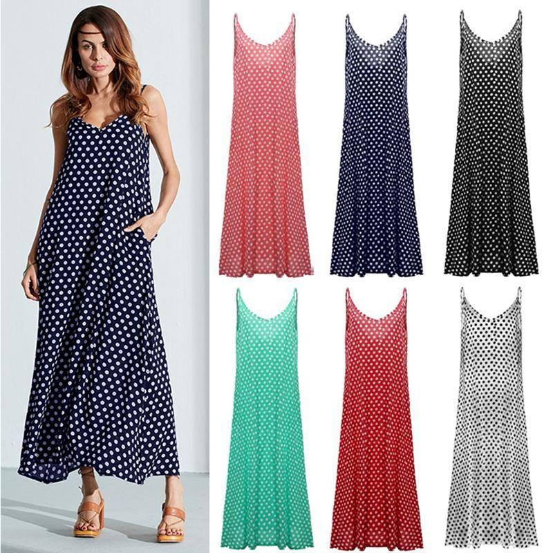 Womens Sleeveless Polka Dot Maxi Dress Summer Beach Holiday Sundress Kaftan