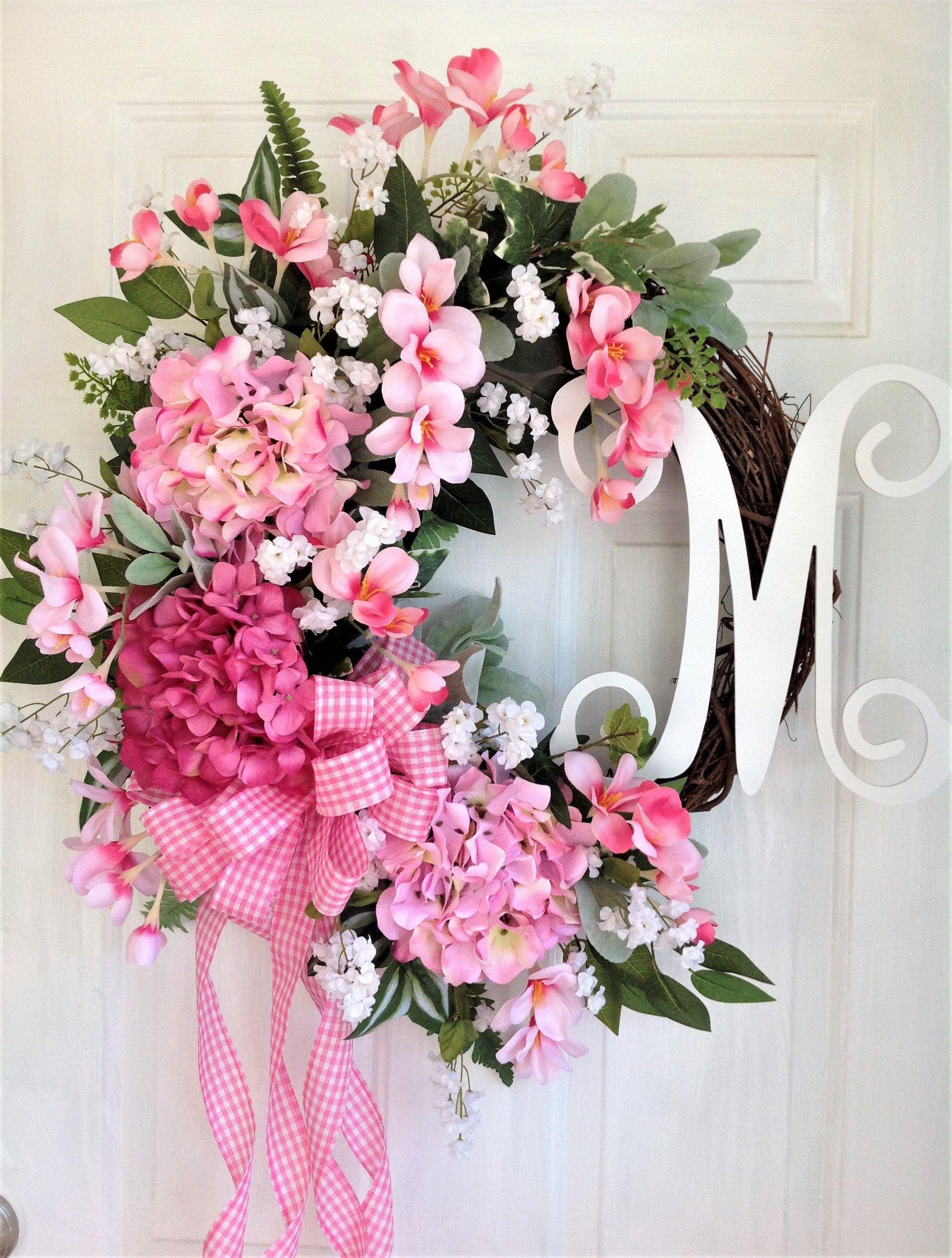 Photo of Items similar to welcome wreath, front door wreath, spring wreath, summer wreath, everyday wreath, pink hydrangea wreath, flower wreath, housewarming on Etsy