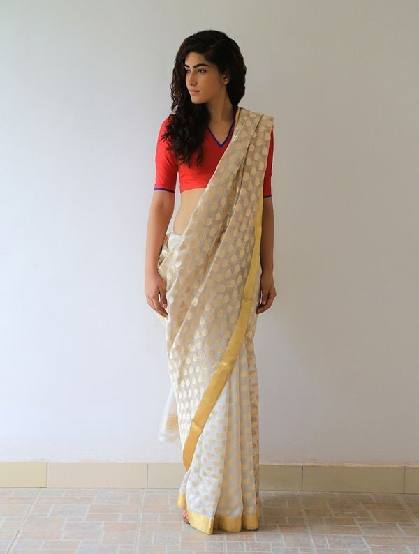 2af3d8f9a6384 Off white saree red blouse cotton silk More