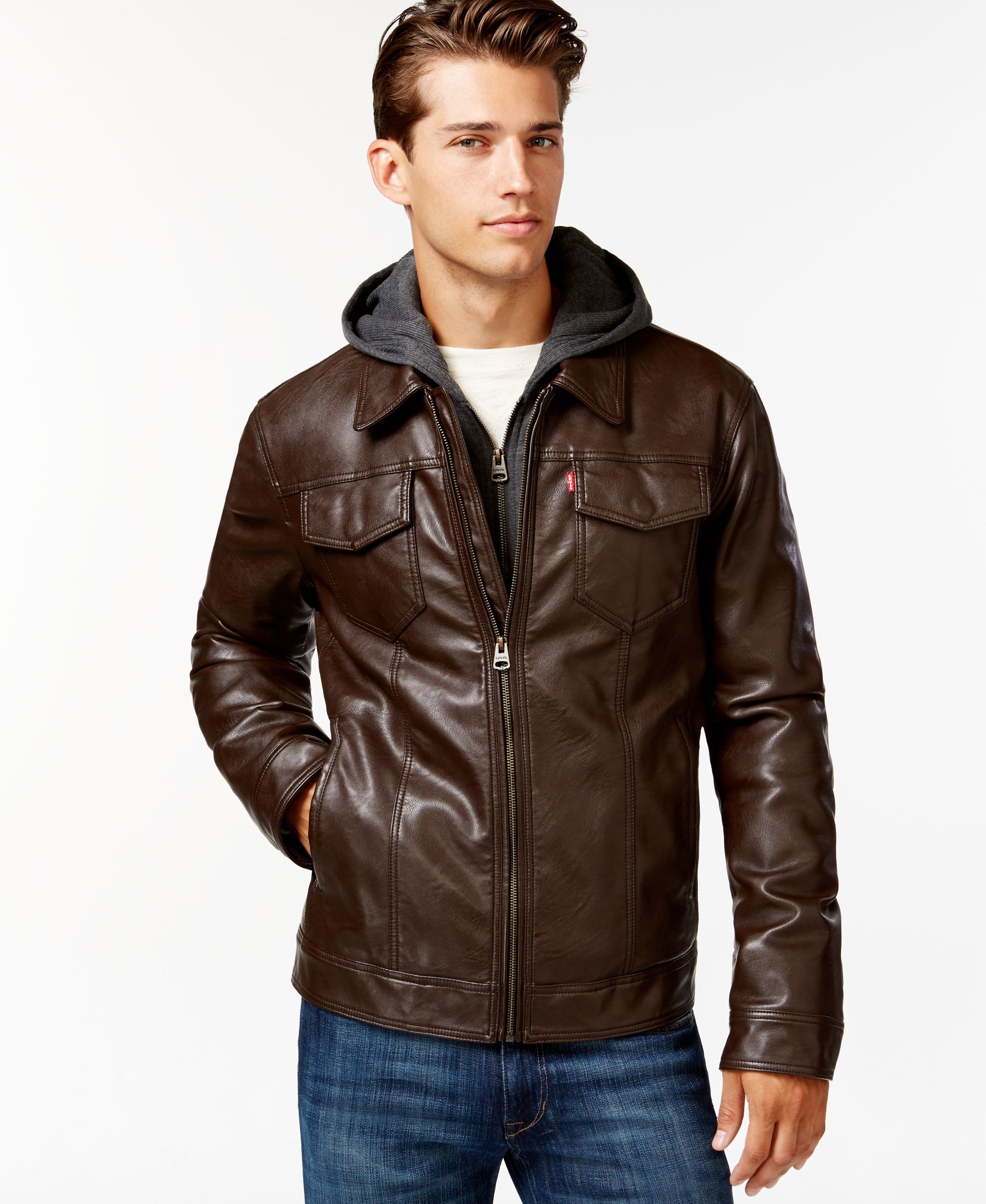 Levi S Faux Leather Hoodie Trucker Jacket Coats Jackets Men Macy S Faux Leather Hoodie Trucker Jacket Jackets [ 2378 x 1947 Pixel ]