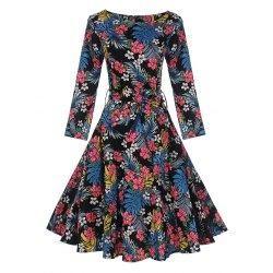 #trendsgal.com - #Trendsgal Tropical Print Skater Pin Up Dress - AdoreWe.com