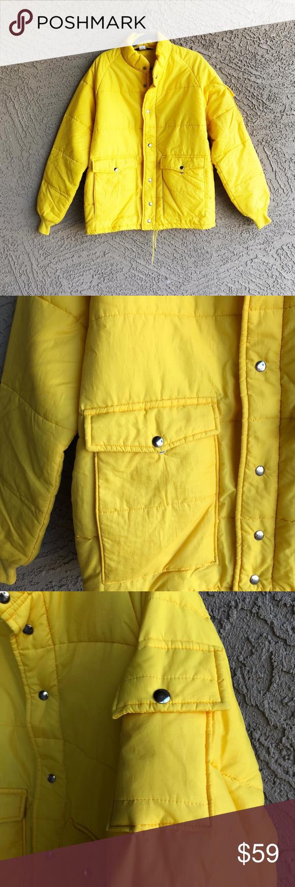 Vtg Swingster Men S Yellow Puffer Jacket Coat Vintage Bright Yellow Jacket Coat In Euc Zip Snap Closure Offers W Yellow Puffer Jacket Jackets Coats Jackets