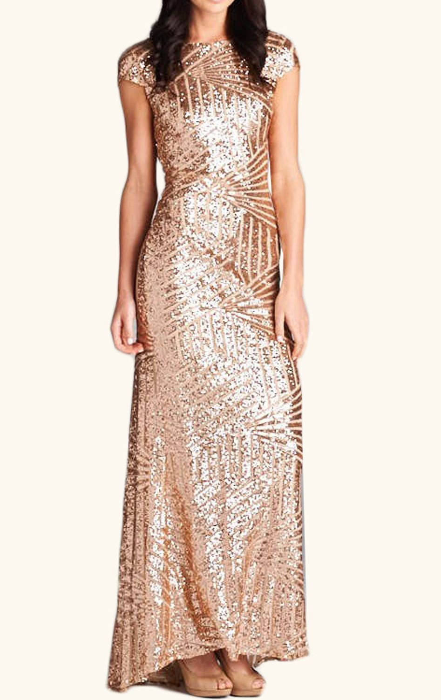 Cap sleeves sequin long bridesmaid dress black rose gold formal
