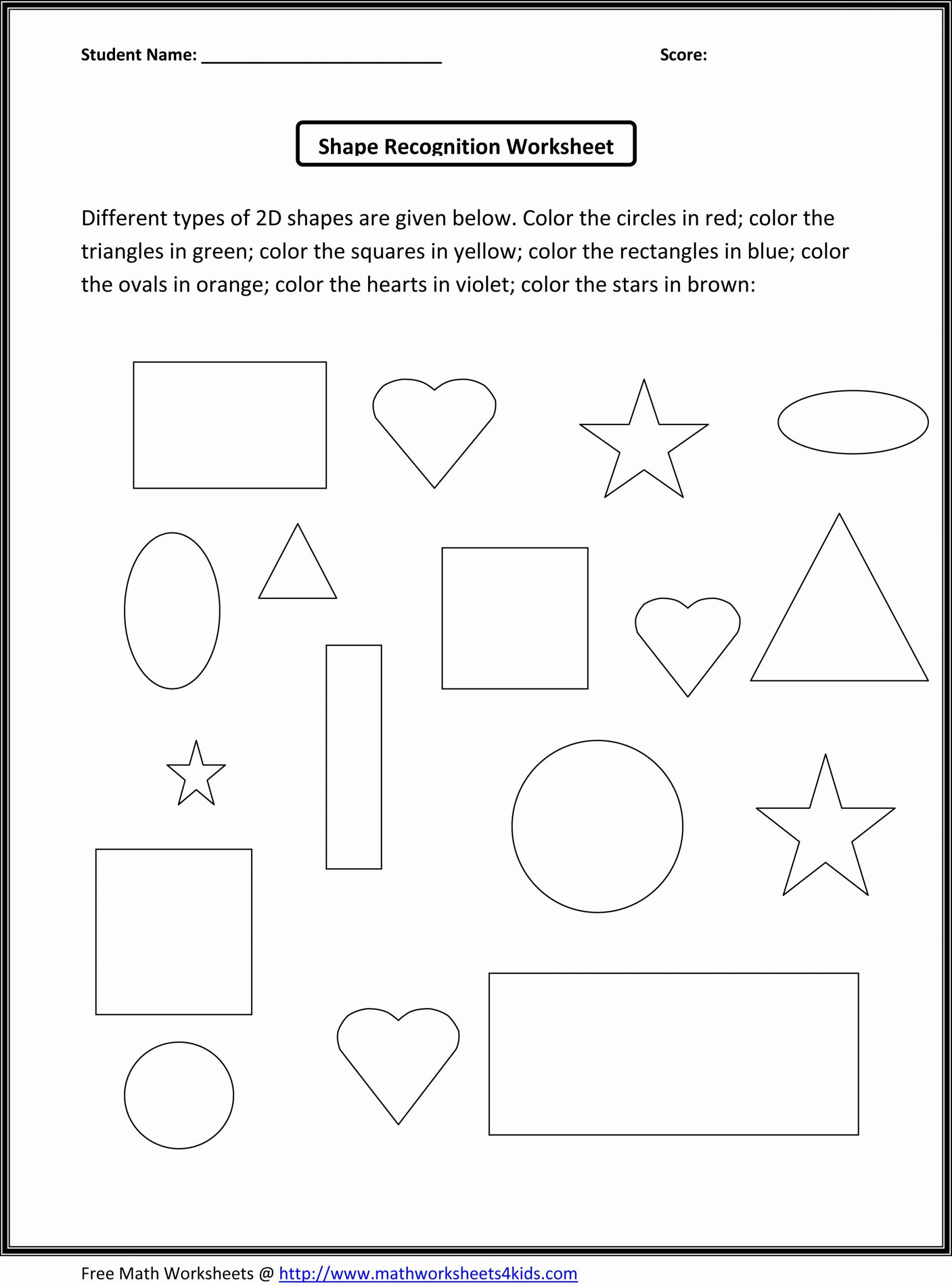 Worksheet For Kindergarten About Shapes In