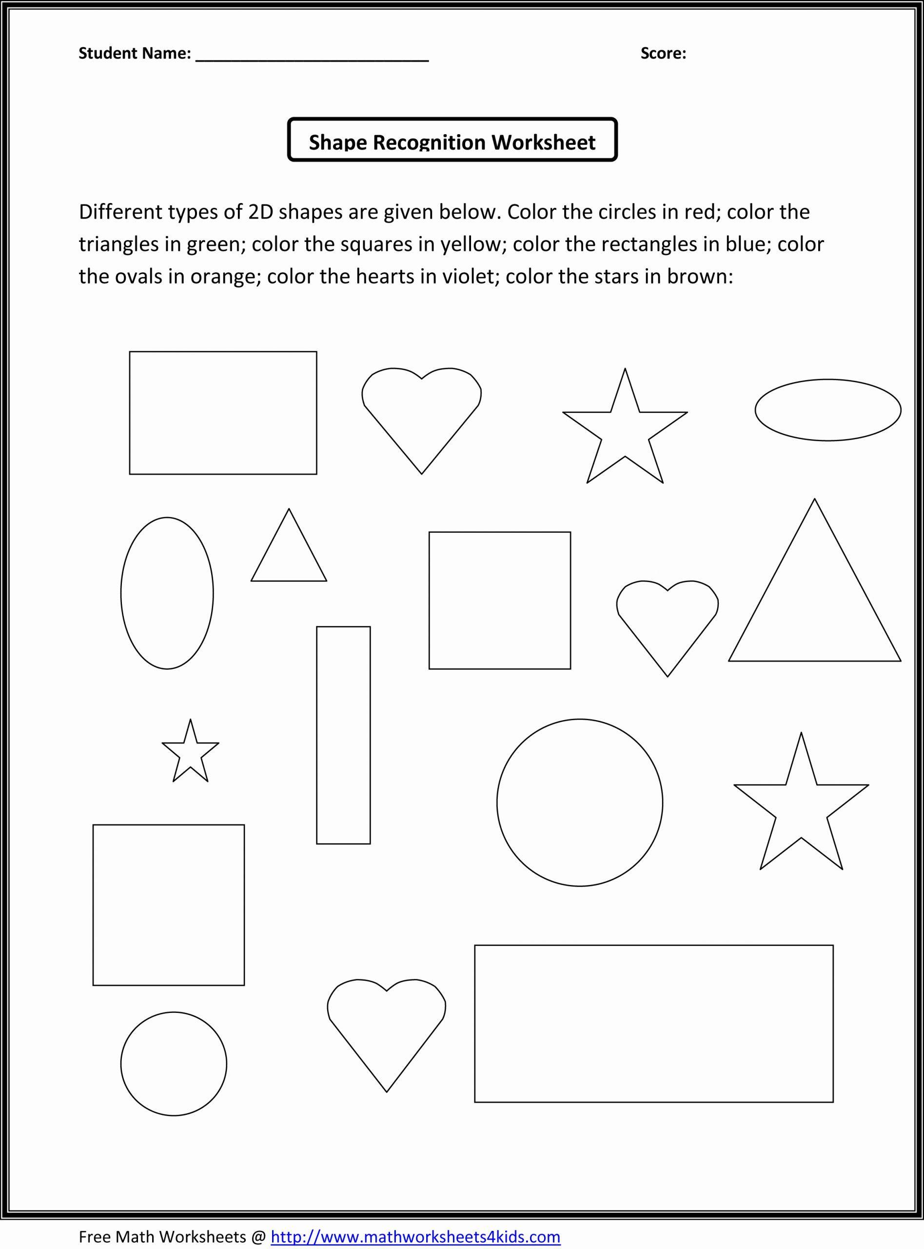 Worksheet For Kindergarten About Shapes In