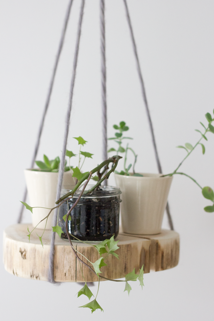 diy round wood shelf plant hanger diy wood shelves