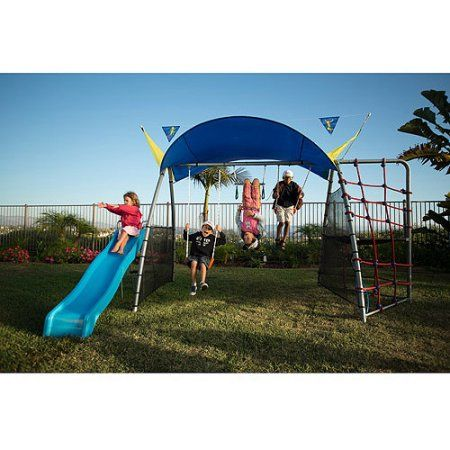Ironkids Inspiration 300 Refreshing Mist Swing Set with Rope Climb and Expanded UV Protective Sunshade