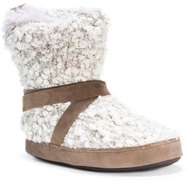 MUK LUKS Women's Judie Sweater Knit Boot Slippers ($44) ❤ liked on Polyvore featuring shoes, slippers and white oth